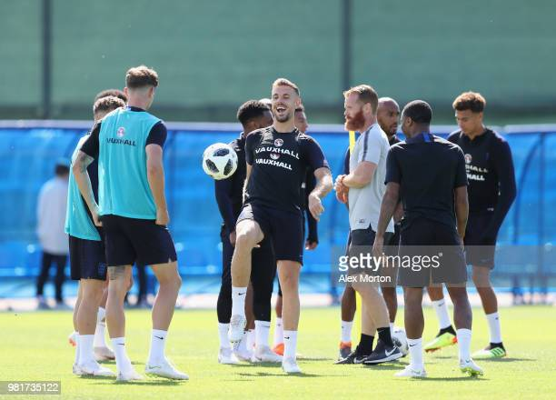 Jordan Henderson of England enjoys an England training session during the England Media Access on June 23 2018 in Saint Petersburg Russia