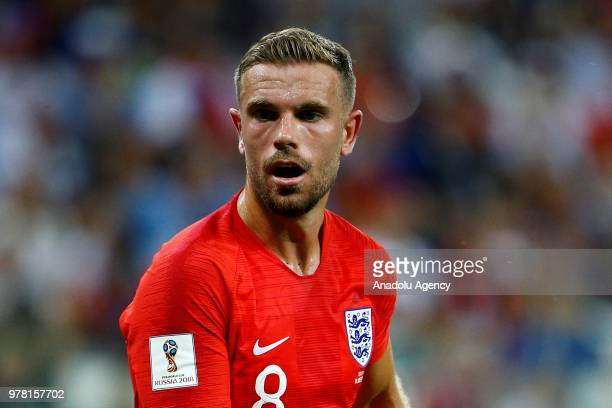 Jordan Henderson of England in action during the 2018 FIFA World Cup Russia Group G match between Tunisia and England at the Volgograd Arenain...