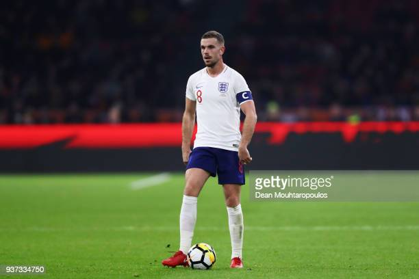 Jordan Henderson of England in action during the International Friendly match between Netherlands and England at Amsterdam ArenA also called the...