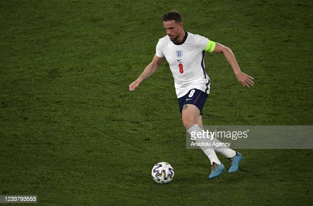 Jordan Henderson of England in action during the UEFA EURO 2020 quarterfinal football match between Ukraine and England at the Olympic Stadium in...