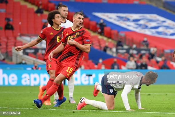 Jordan Henderson of England is fouled in the penalty area by Thomas Meunier of Belgium which leads to a penalty for England during the UEFA Nations...