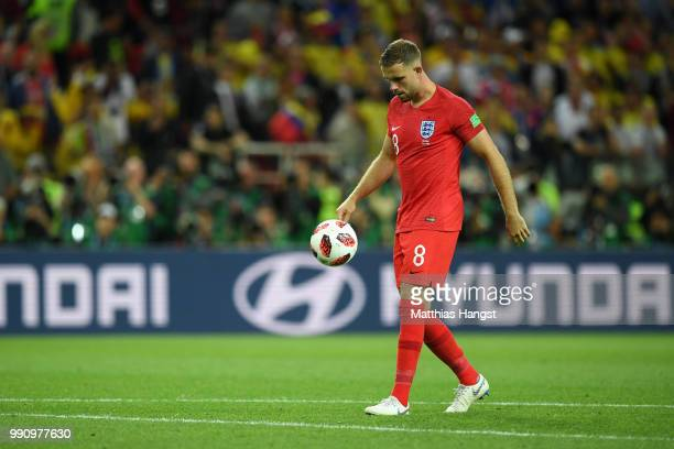 Jordan Henderson of England looks dejected after missing his sides third in the penalty shoot out during the 2018 FIFA World Cup Russia Round of 16...
