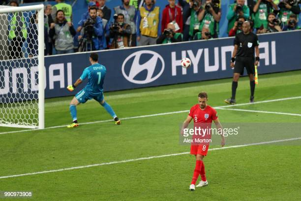 Jordan Henderson of England looks dejected after missing his team's third penalty in the penalty shoot out during the 2018 FIFA World Cup Russia...