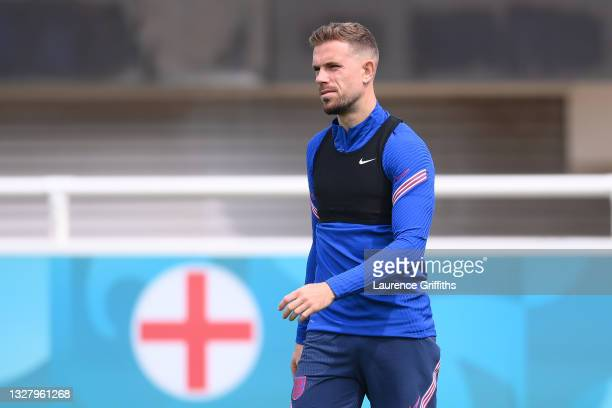 Jordan Henderson of England looks on during the England Training Session at St George's Park on July 10, 2021 in Burton upon Trent, England.