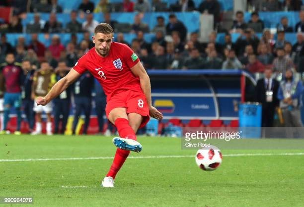 Jordan Henderson of England misses his team's third penalty in the penalty shoot out during the 2018 FIFA World Cup Russia Round of 16 match between...