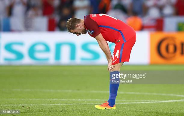 Jordan Henderson of England reacts after his team's scoreless draw in the UEFA EURO 2016 Group B match between Slovakia and England at Stade...