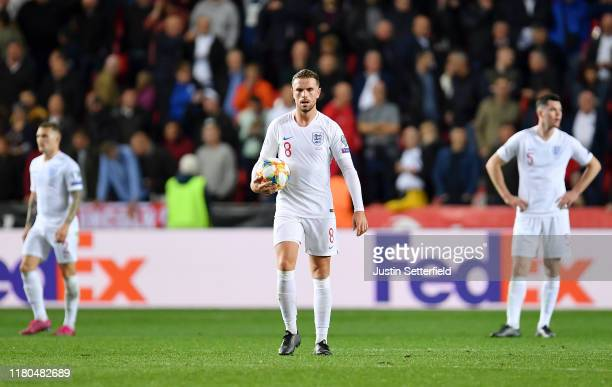 Jordan Henderson of England reacts after Zdenek Ondrasek of Czech Republic scores his sides second goal during the UEFA Euro 2020 qualifier between...