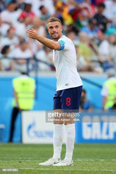 Jordan Henderson of England reacts during the 2018 FIFA World Cup Russia group G match between England and Panama at Nizhny Novgorod Stadium on June...
