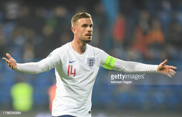 Jordan Henderson of England reacts during the 2020 UEFA European Championships Group A qualifying match between Montenegro and England at Podgorica...