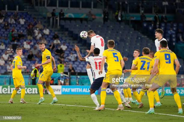 Jordan Henderson of England scores their side's fourth goal during the UEFA Euro 2020 Championship Quarter-final match between Ukraine and England at...