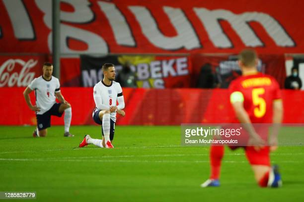 Jordan Henderson of England takes a knee in support of the Black Lives Matter movement during the UEFA Nations League group stage match between...
