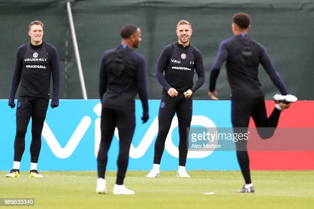 Jordan Henderson of England takes part in a training session during the England training session at the Stadium Spartak Zelenogorsk on July 2 2018 in...