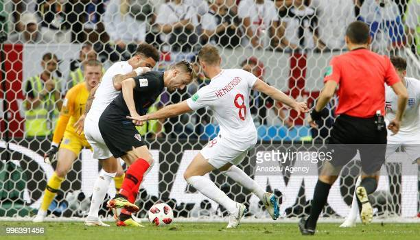 Jordan Henderson of England vies for the ball during the 2018 FIFA World Cup Russia semi final match between Croatia and England at the Luzhniki...