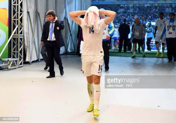 Jordan Henderson of England walks in the tunnel to the dressing room after 21 defeat by Uruguay in the 2014 FIFA World Cup Brazil Group D match...