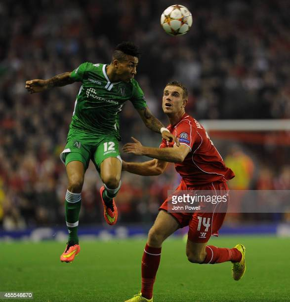 Jordan Henderson of Liverpool and Anicet Abel of PFC Ludogorets compete during the UEFA Champions League match between Liverpool and PFC Ludogorets...