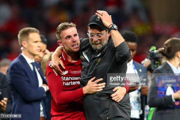 Jordan Henderson of Liverpool and Jurgen Klopp manager / head coach of Liverpool cry at full time during the UEFA Champions League Final between...
