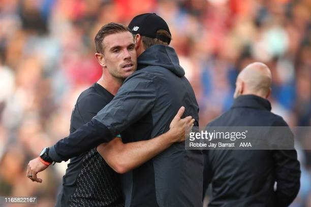 Jordan Henderson of Liverpool and Jurgen Klopp the head coach / manager of Liverpool during the Premier League match between Burnley FC and Liverpool...