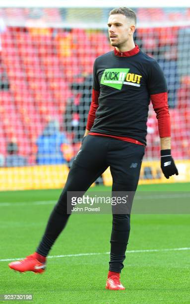 Jordan Henderson of Liverpool before the Premier League match between Liverpool and West Ham United at Anfield on February 24 2018 in Liverpool...