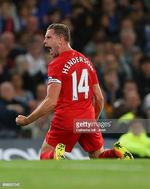 Jordan Henderson of Liverpool celebrates after he scores to make it 02 during the Premier League match between Chelsea and Liverpool at Stamford...