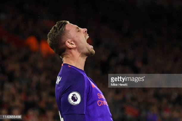 Jordan Henderson of Liverpool celebrates after scoring his team's third goal during the Premier League match between Southampton FC and Liverpool FC...