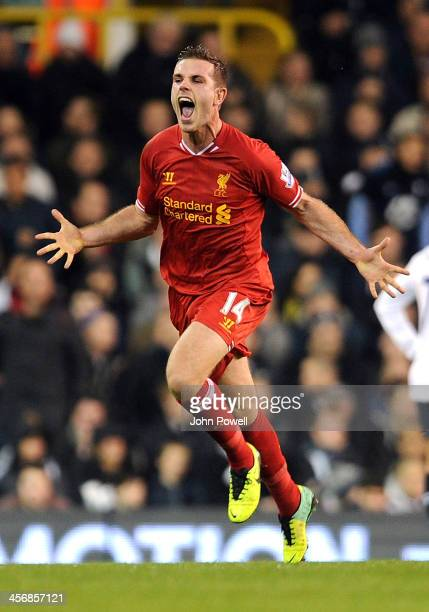 Jordan Henderson of Liverpool celebrates after scoring the second goal during the Barclays Premier Leauge match between Tottenham Hotspur and...