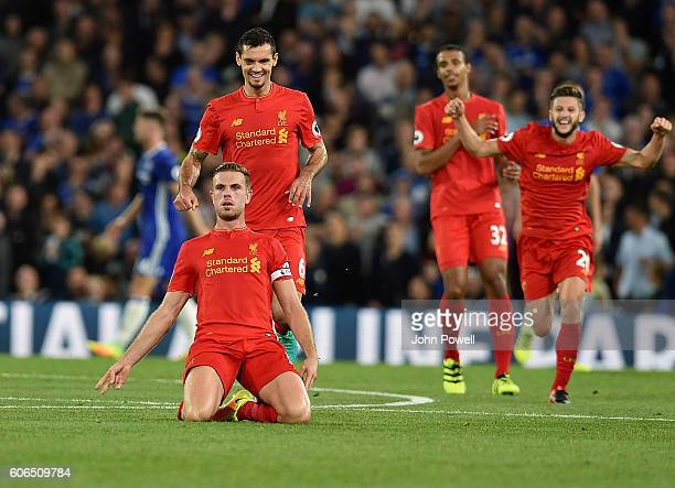 Jordan Henderson of Liverpool celebrates after scoring the second goal during the Premier League match between Chelsea and Liverpool at Stamford...