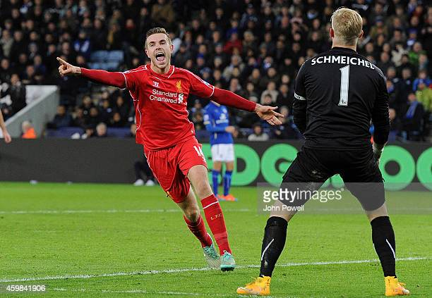 Jordan Henderson of Liverpool celebrates after scoring the third goal of Liverpool during the Barclays Premier League match between Leicester City...