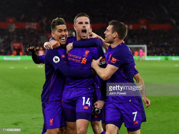 Jordan Henderson of Liverpool celebrates after scoring the winning goal during the Premier League match between Southampton FC and Liverpool FC at St...