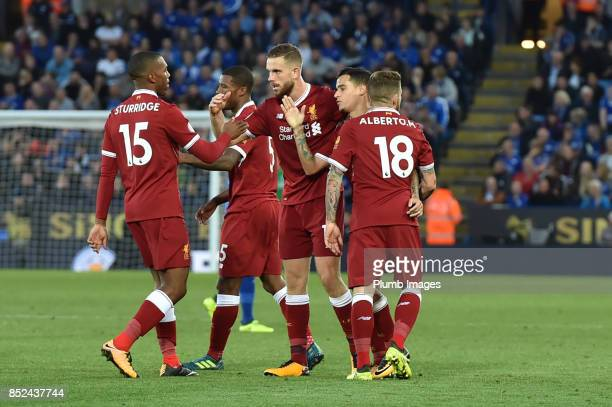 Jordan Henderson of Liverpool celebrates after scoring to make it 13 during Premier League match between Leicester City and Liverpool at The King...