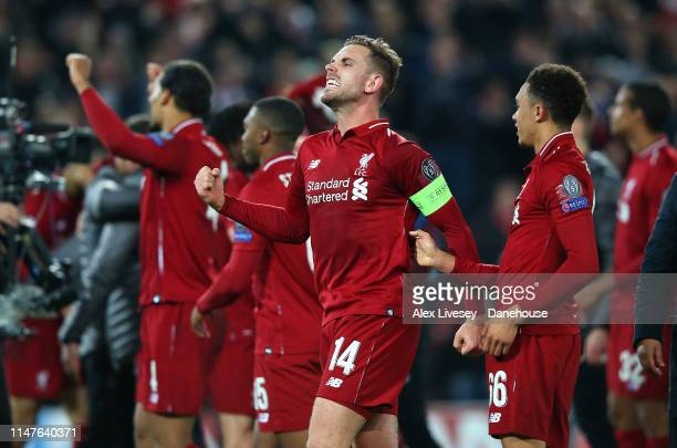 Jordan Henderson of Liverpool celebrates after the UEFA Champions League Semi Final second leg match between Liverpool and Barcelona at Anfield on...