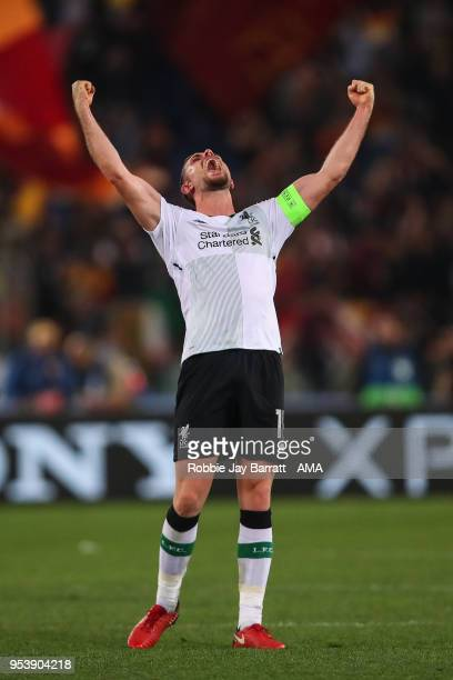Jordan Henderson of Liverpool celebrates at full time during the UEFA Champions League Semi Final Second Leg match between AS Roma and Liverpool at...