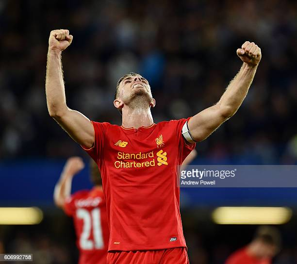 Jordan Henderson of Liverpool celebrates at the end of the Premier League match between Chelsea and Liverpool at Stamford Bridge on September 16 2016...
