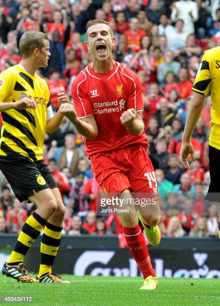 Jordan Henderson of Liverpool celebrates his goal during Pre Season Friendly match between Liverpool and Borussia Dortmund at Anfield on August 10...