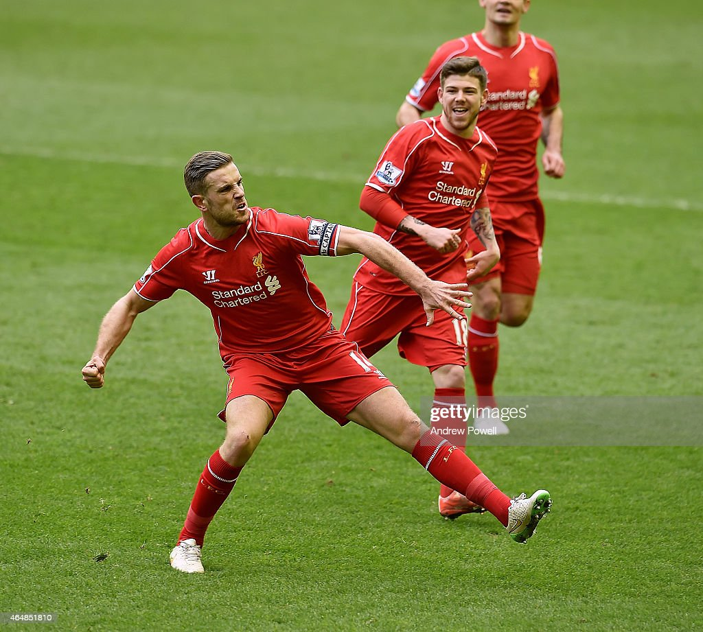 Jordan Henderson of Liverpool celebrates his goal during the Barclays Premier League match between Liverpool and Manchester City at Anfield on March 1, 2015 in Liverpool, England.