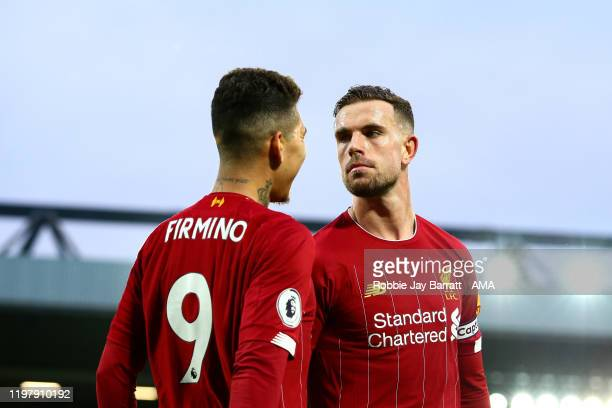 Jordan Henderson of Liverpool Celebrates scoring a goal to make it 20 with Roberto Firminho of Liverpool during the Premier League match between...