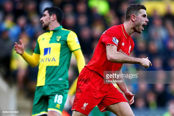 Jordan Henderson of Liverpool celebrates scoring his team's second goal during the Barclays Premier League match between Norwich City and Liverpool...