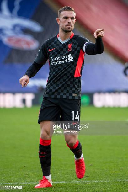 Jordan Henderson of Liverpool celebrates scoring the 4th goal during the Premier League match between Crystal Palace and Liverpool at Selhurst Park...