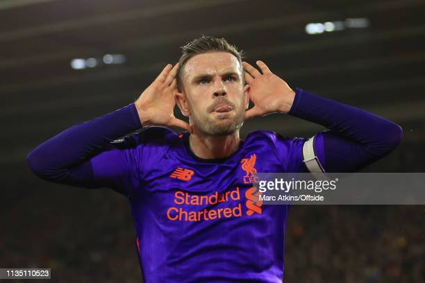 Jordan Henderson of Liverpool celebrates scoring their 3rd goal during the Premier League match between Southampton FC and Liverpool FC at St Mary's...
