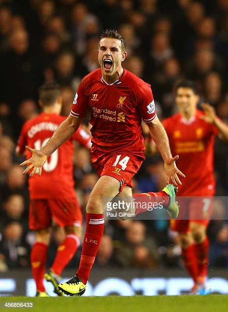 Jordan Henderson of Liverpool celebrates scoring their second goal during the Barclays Premier League match between Tottenham Hotspur and Liverpool...