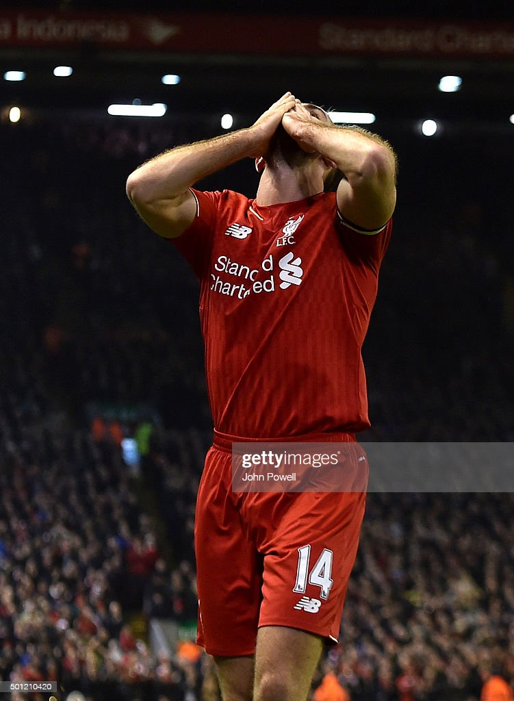 Jordan Henderson of Liverpool celebrates the opening goal during the Barclays Premier League match between Liverpool and West Bromwich Albion at Anfield on December 13, 2015 in Liverpool, England.