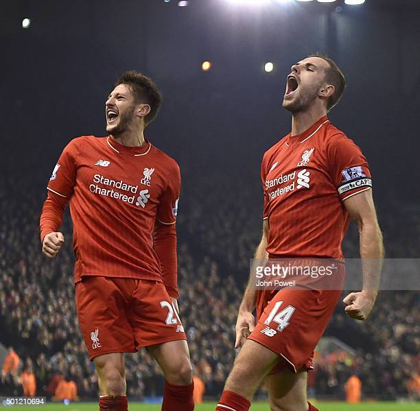 Jordan Henderson of Liverpool celebrates the opening goal during the Barclays Premier League match between Liverpool and West Bromwich Albion at...