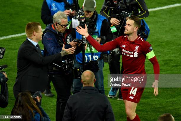 Jordan Henderson of Liverpool celebrates the win at the end of the UEFA Champions League Semi Final second leg match between Liverpool and Barcelona...