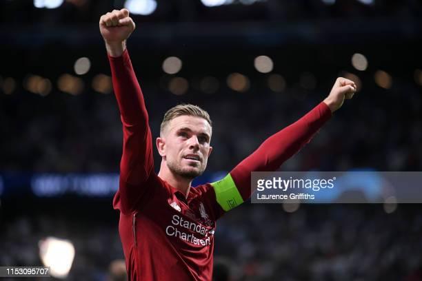 Jordan Henderson of Liverpool celebrates victory after the UEFA Champions League Final between Tottenham Hotspur and Liverpool at Estadio Wanda...