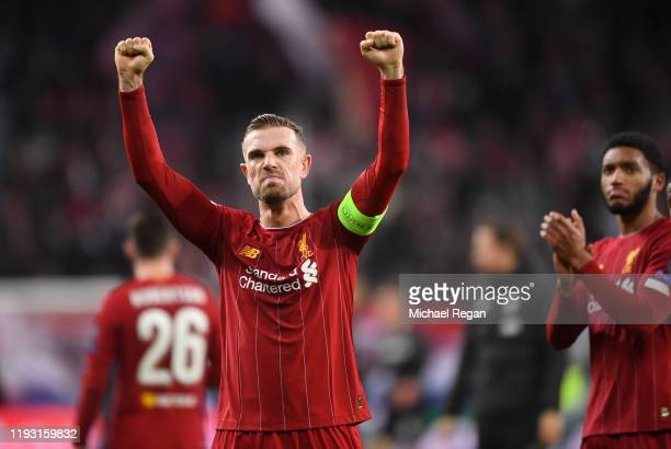 Jordan Henderson of Liverpool celebrates victory during the UEFA Champions League group E match between RB Salzburg and Liverpool FC at Red Bull...