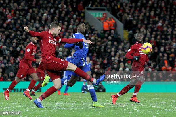JANUARY Jordan Henderson of Liverpool clears from defence during the Premier League match between Liverpool and Leicester City at Anfield on January...