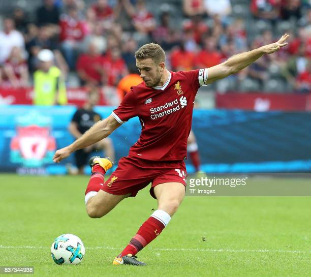 Jordan Henderson of Liverpool controls the ball during the Preseason Friendly match between Hertha BSC and FC Liverpool at Olympiastadion on July 29...