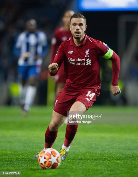Jordan Henderson of Liverpool controls the ball during the UEFA Champions League Quarter Final second leg match between Porto and Liverpool at...