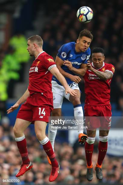 Jordan Henderson of Liverpool Dominic CalvertLewin of Everton and Nathaniel Clyne of Liverpool during the Premier League match between Everton and...