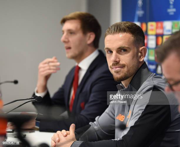Jordan Henderson of Liverpool during a Press Conference at Anfield on April 23 2018 in Liverpool England