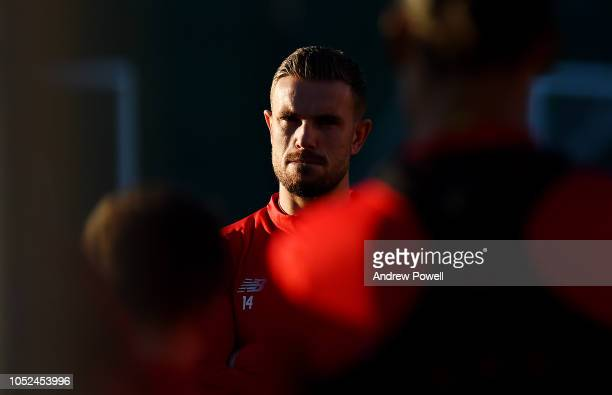 Jordan Henderson of Liverpool during a training session at Melwood Training Ground on October 18 2018 in Liverpool England